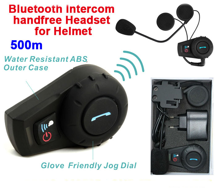 500m Motorcycle Helmet Intercom Headset Hands Free Bluetooth Intercom Sports Helmet Kits Casque Audio Moto Accessories
