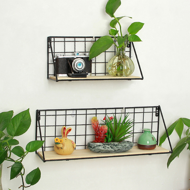 DIY Home Storage Shelves Decor Creative Iron Crafts Hanging Wall ...