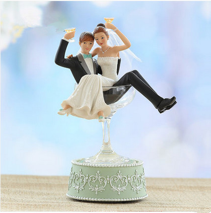 Sitting In The Win Cup Funny Bride Ang Groom Wedding Cake Topper Manually Rotating