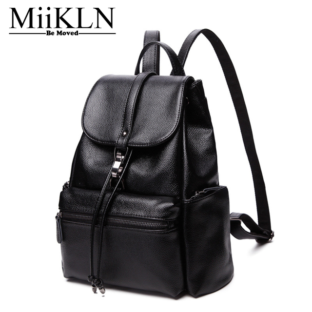 27ce4c1b6bdc MiiKLN Femail Genuine Leather Backpack Solid Women Black Leather School Bag  Backpack Travel Cheap Schoolbag Fashion Zipper