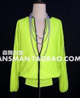 S-5XL! 2017 New Men's fashion flash fluorescent green sequined baseball Jacket Costume coat Men singer clothing