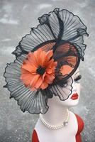 A325 Orange Flower Core Womens Sinamay Clips Saucer Hat Fascinator Hat Bowknot Felt Cocktail Party Wedding Church Fedoras