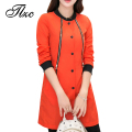 TLZC O-Neck Fashion Women Trench Coats Plus Size M-4XL New Arrival Winter Autumn Spring Button Lady Slim Long Outwear