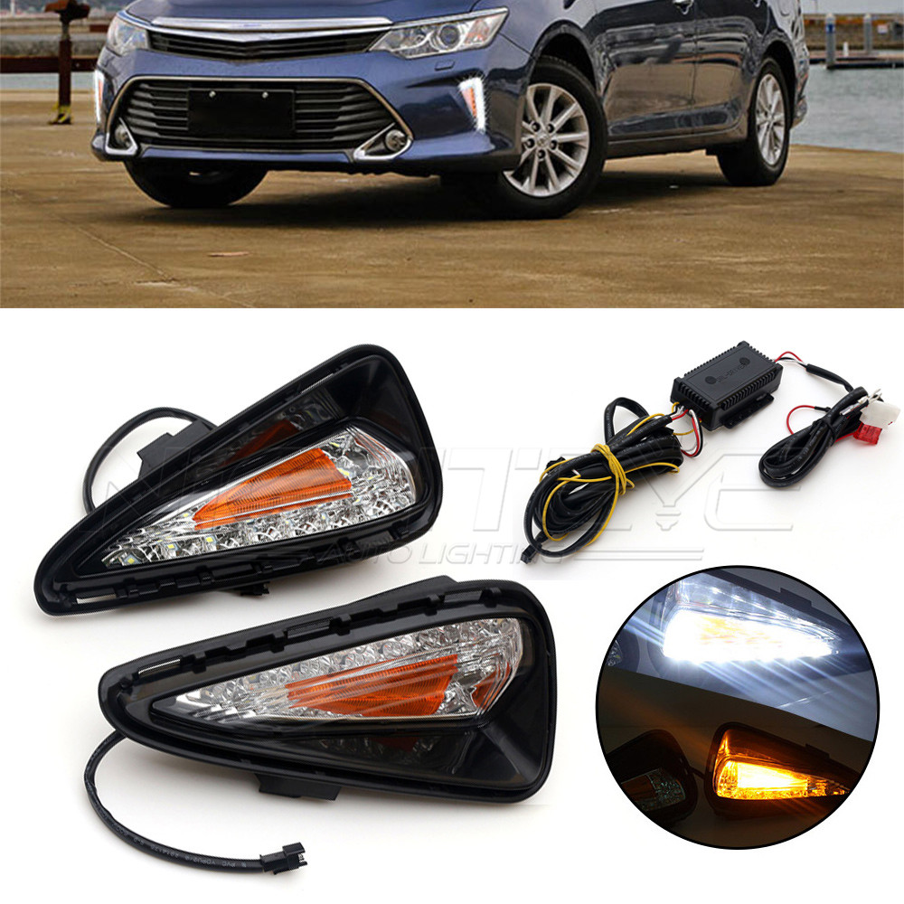 ФОТО For TOYOTA CAMRY 2015 Car-special LED Daytime Running Light with Turn Signal Yellow DRL D15