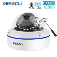 MISECU HD 1080P 2MP Surveillance IP POE Camera Audio Internal Microphone Vandalproof IR Night Dome Security Camera ONVIF P2P