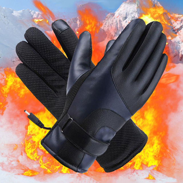 Winter Heated Gloves Warmer Electric Thermal Gloves Cycling Motorcycle Bicycle Skiing Gloves Unisex ON/OFF Switch With LED