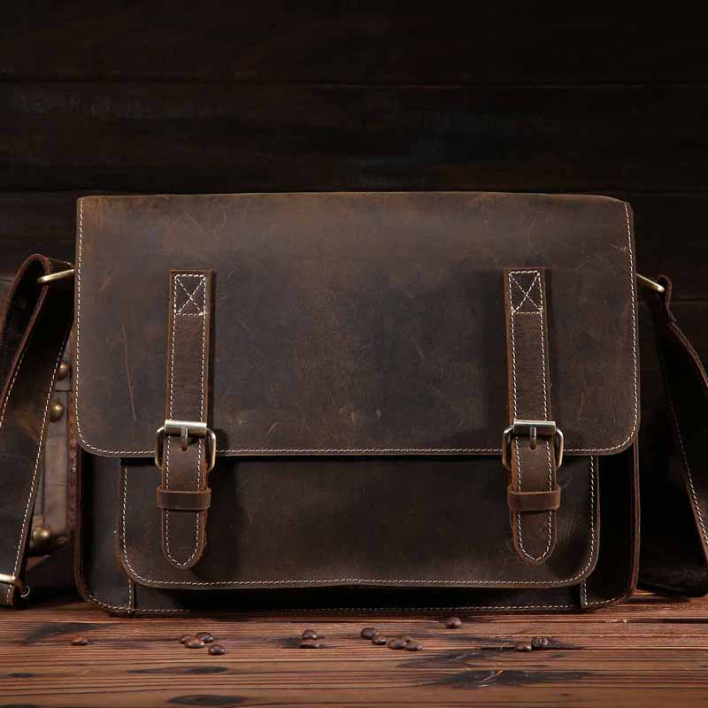 YISHEN Crazy Horse Leather Men Shoulder Bags Vintage Genuine Leather Men Messenger Bags Business Travel Male Crossbody Bags 1055 yishen casual vintage genuine leather men shoulder crossbody bags fashion flap bags male messenger bags travel bags bfl 3358