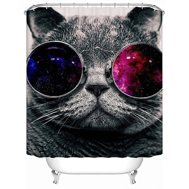 Office Star Waterproof Fabric Bathroom Shower Curtain Galaxy Hipster Cat Wear Color Sunglasses