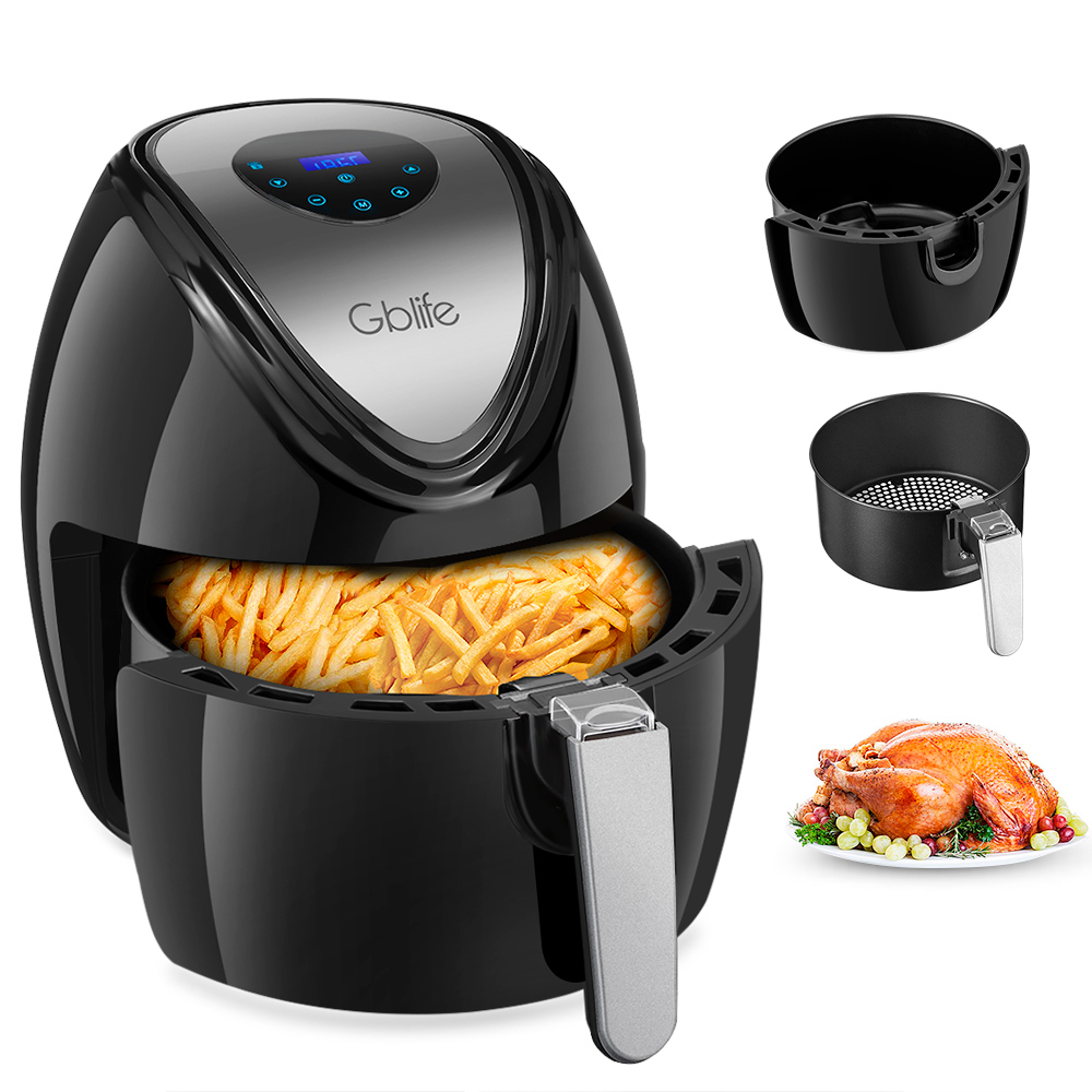 GBlife 1500W Multi-Functional Digital Electric Air Fryer For Frying Grilling Roasting 7 Quick Menus KAF1500P - D2 Deep Fryer