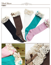 girl autumn socks kids children's knee high socks with lace baby leg warmers cotton meias christmas socks for baby free shipping