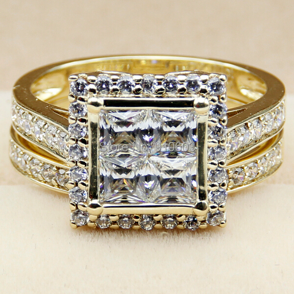Center Princess Cut Simulated Diamonds Halo Rings Real 9K Yellow