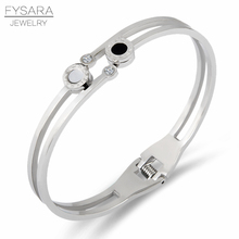 FYSARA White Shell & Black Double Circle Roman Numerals Bangles Luxury Famous Brand Cuff Bracelets For Women Valentines Gift