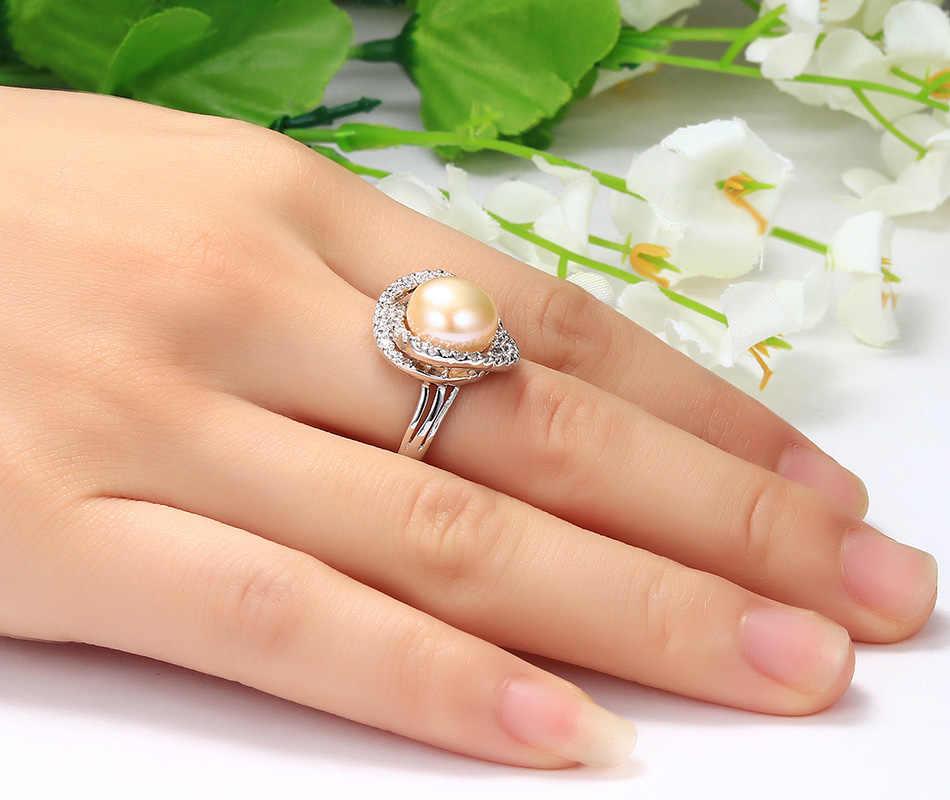 2019 לבן ורוד סגול שחור טבעי מים מתוקים פרל חתונה טבעת מתכוונן 925 סטרלינג כסף טבעות מתנה לאישה מכירה לוהטת