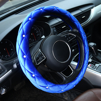 Car winter steering wheel cover warm soft in winter for 38cm car handle Anti slip quilting crystal flannelette