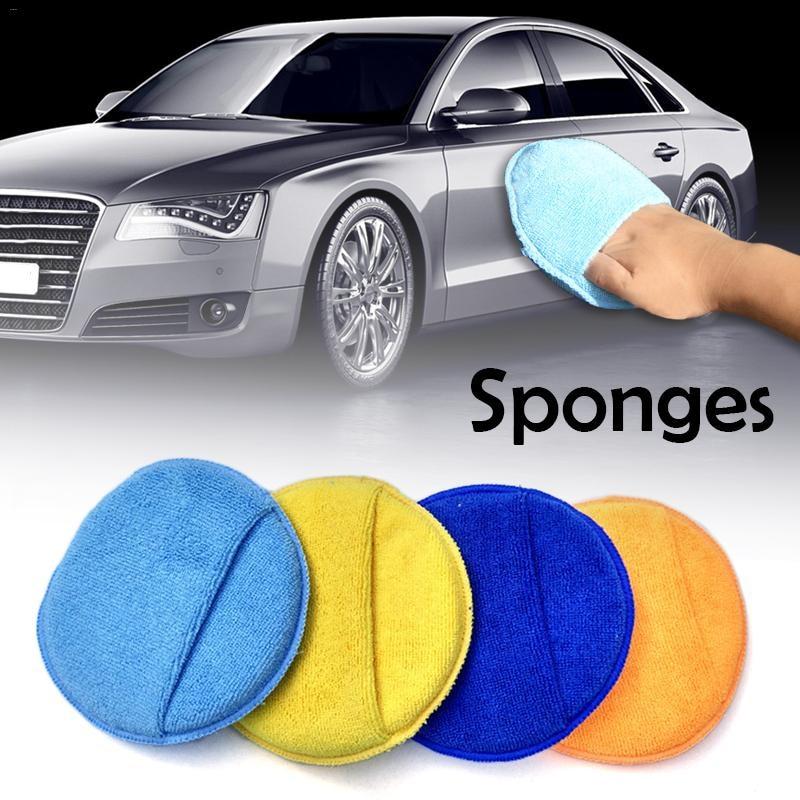 High Density Round Car Waxing Sponge Large Size 17CM Microfiber Overlock Car Wash Cleaning Sponge Cloths For Polishing J3