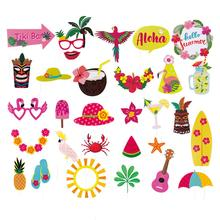 30pcs Summer Party Photo Booth Props Kit DIY Luau Hawaiian Tropical Beach Wedding Birthday Decorations