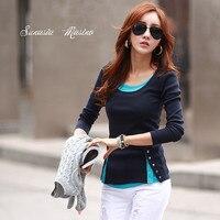 2015 Fashion Woman False Two Shirts O Neck Patchwork Rivet High Quality Tops Free Shipping