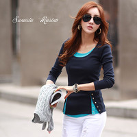 2015 Fashion Woman False Two Shirts O Neck Patchwork Rivet High Quality Tops Free Shipping