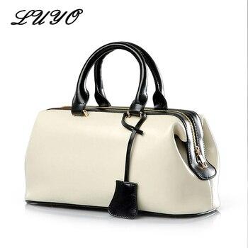 Vintage Fashion Classic Doctor Bag Genuine Leather Famous Brand Designer Women Handbags High Quality Ladies Real - discount item  50% OFF Women's Handbags