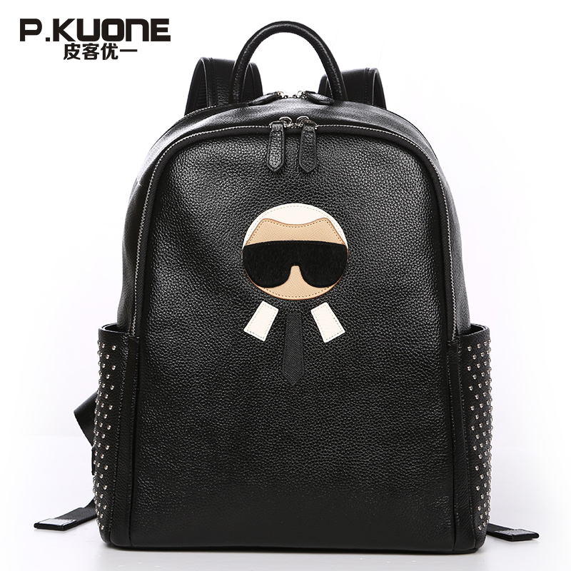 P.KUONE Brand Famous Designer Fashion Leather Backpack Male Female Funny Multifunction Genuine Leather Backpack School Backpack