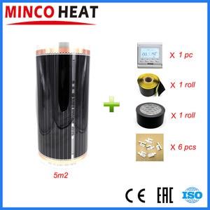 Image 2 - 5 metros quadrados 220 v controlador de temperatura ambiente filme aquecimento infravermelho carbono frete grátis piso aquecimento filme