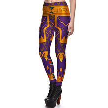 New 3817 Sexy Girl Bright King Queen Crown Cosplay Printed Elastic Fitness Polyester Workout Women Leggings
