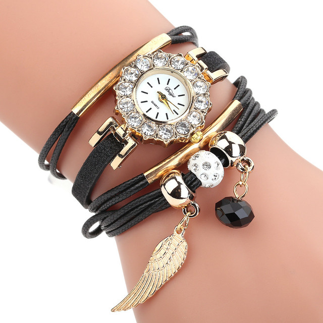 Women Fashion Casual Analog Quartz Wristwatches Gold feather Shape Bracelet Watch relojes mujer Kol Saati Wholesale saat