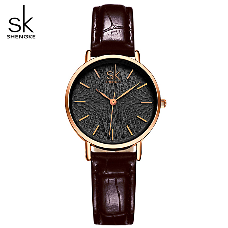 SK Brand Classic Black Women Watches Ladies Quartz Analog Clock Girl Casual Watch Women's Leather Wrist Watches Montre Femme women quartz wrist watch vintage lace flower printed ladies watches casual leather band analog women s watch montre femme reloj