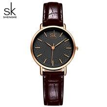 Sk/классические черные Для женщин Часы дамы аналоговые кварцевые часы девушка Повседневное часы Для женщин кожа наручные Часы Montre Femme