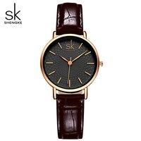 SK Brand Classic Black Women Watches Ladies Quartz Analog Clock Girl Casual Watch Women S Leather