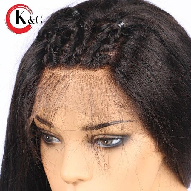 KUNGANG Droite Avant de Lacet de Cheveux Humains Perruques Partie Libre Noeuds Blanchis Brésiliens Remy Cheveux Perruque Avec Bébé Cheveux Pour Les Femmes 3