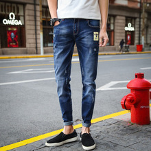 Men's new Korean version of self-cultivation micro-elastic feet jeans casual wear, worn, washed, cats must-have waist pants girls jeans small pants 2018 new children s korean version self cultivation fashion broken holes pencil pants