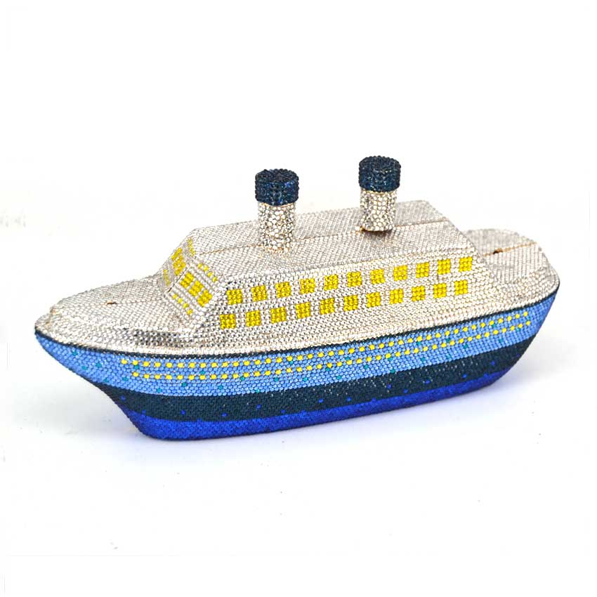 Ship Evening Clutches Party Purse Bridal Crystal Wedding Handbags for Brides Women Boat Clutch Bag Ladies Bags with Rhinestones