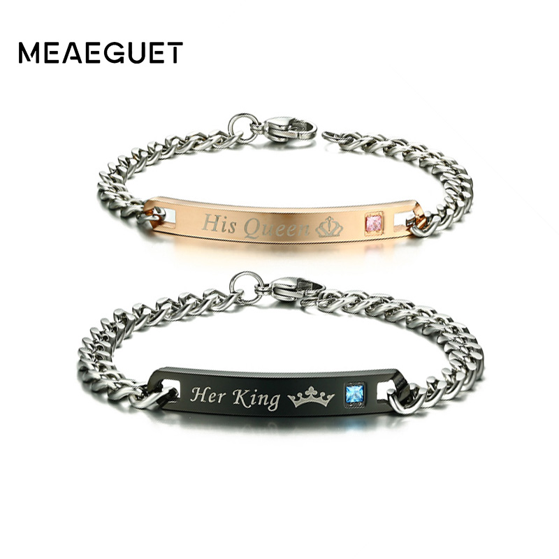 Meaeguet Romantic Couple His Queen & Her King ID Bracelets Stainless Steel Shiny Crystal Bracelets For Lover Promise Jewelry