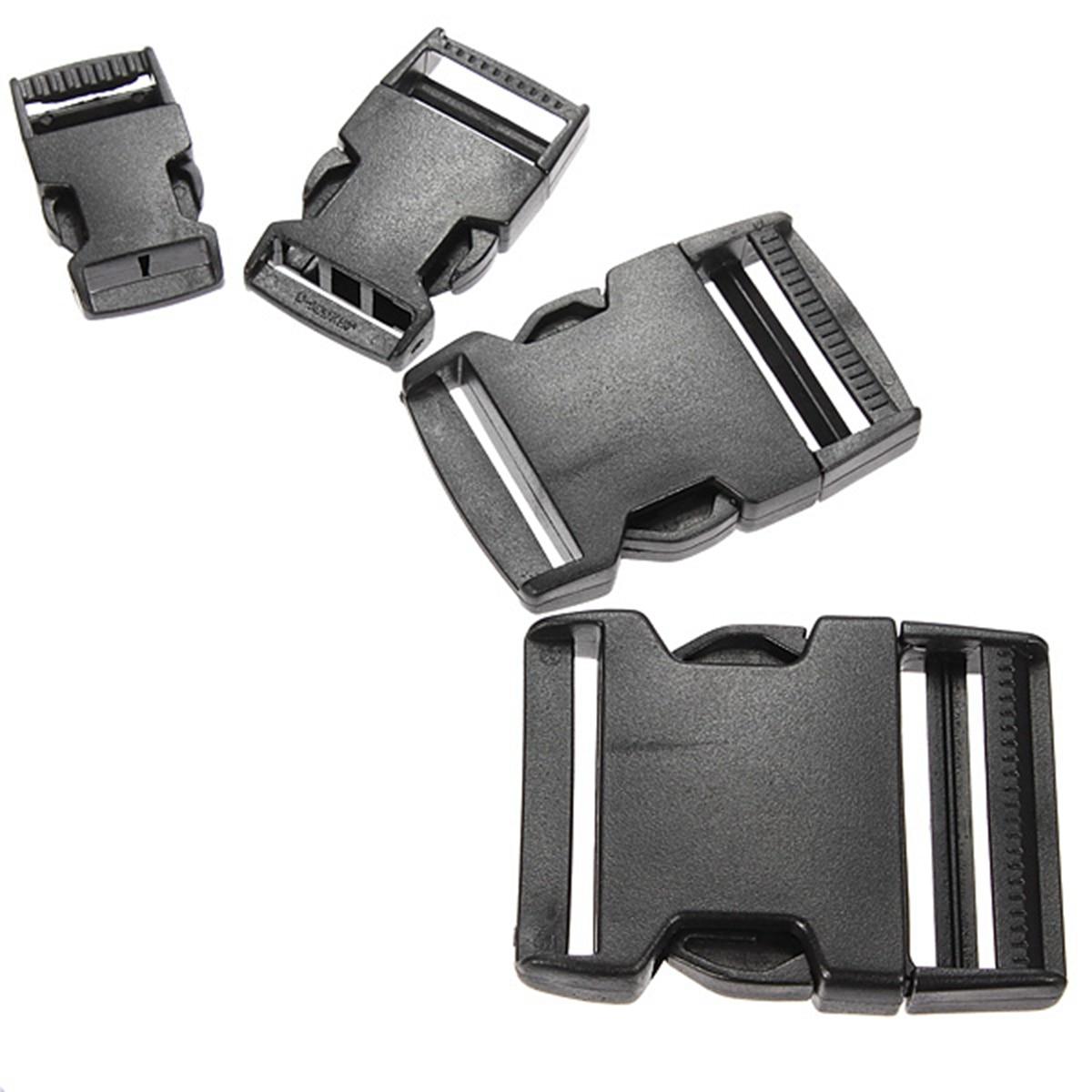 5PCS 20/25/40/50mm Contoured Curved For Paracord Bracelet & Dog Harness Plastic Buckle Black Webbing Buckle Bag Accessories