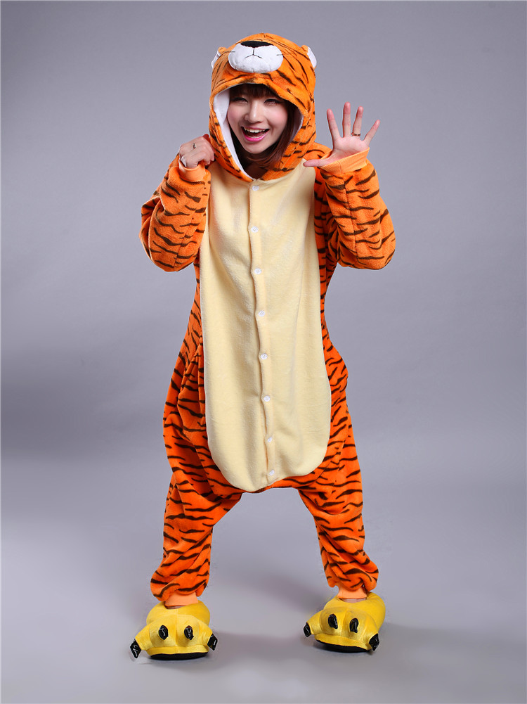 12 chinese zodiacs flannel cosplay tiger anime easter onesie halloween costumes adult unisex tigger pajamas jumpsuit romper - Tiger For Halloween