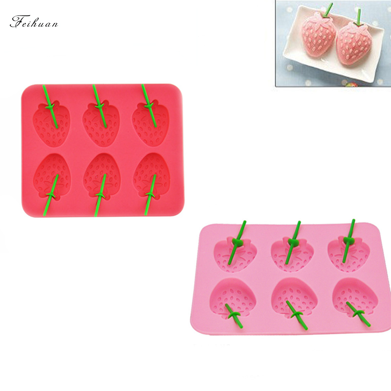 Kitchen Baking Tools 6 Holes Cute Strawberry Style