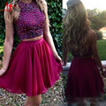 Two Piece Short Homecoming Party Dresses Crop Top Sparkly Beaded Formal Prom Gowns For Sweet 16 Junior 8th Graduation Dresess