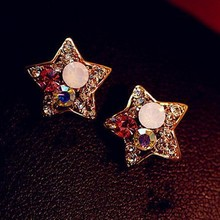 The New Big Fashion Luxury Imitation Diamonds And Gold Pentagram Earrings Jewelry Wholesale Women Free Shipping