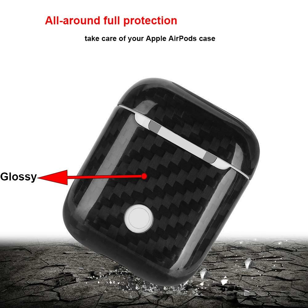 Prise de la poussière Équipée pour Apple AirPods Cas Couverture 100% Réel Carbone fibre Cas rouge à lèvres de charme Pleine Protection Carbone fibre Motif