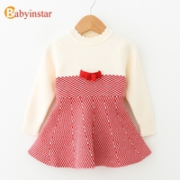 Babyinstar 2017 New Autumn Winter Girls Sweater Dress Princess Girl Knit Wear Long Sleeve Patchwork Bow