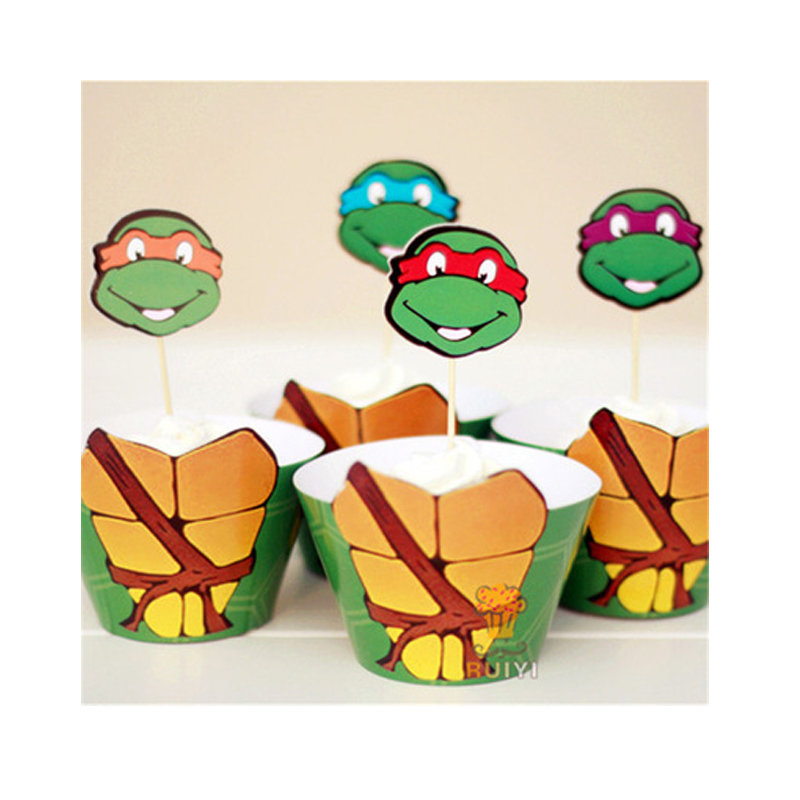 Cartoon Teenage Mutant Ninja Turtles Party Cake Decoration 12 pcs Toppers +12 pcs Wrappers Cartoon Kids Birthday Party Supplies