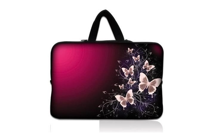 """Pink Butterfly 17"""" 17.3"""" inch Laptop Bag Notebook Case Pouch Sleeve Cover Carrying Holder 17.4"""