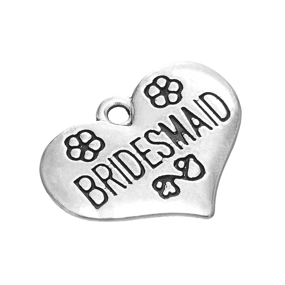 my shape 20pcs zinc alloy antique silver plated Bridesmaid engraved heart charm in Charms from Jewelry Accessories