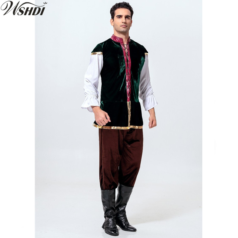 2018 New High Quality Renaissance Medieval Adult Bavarian Beer Mens Costumes Oktoberfest Beer Festival Uniforms