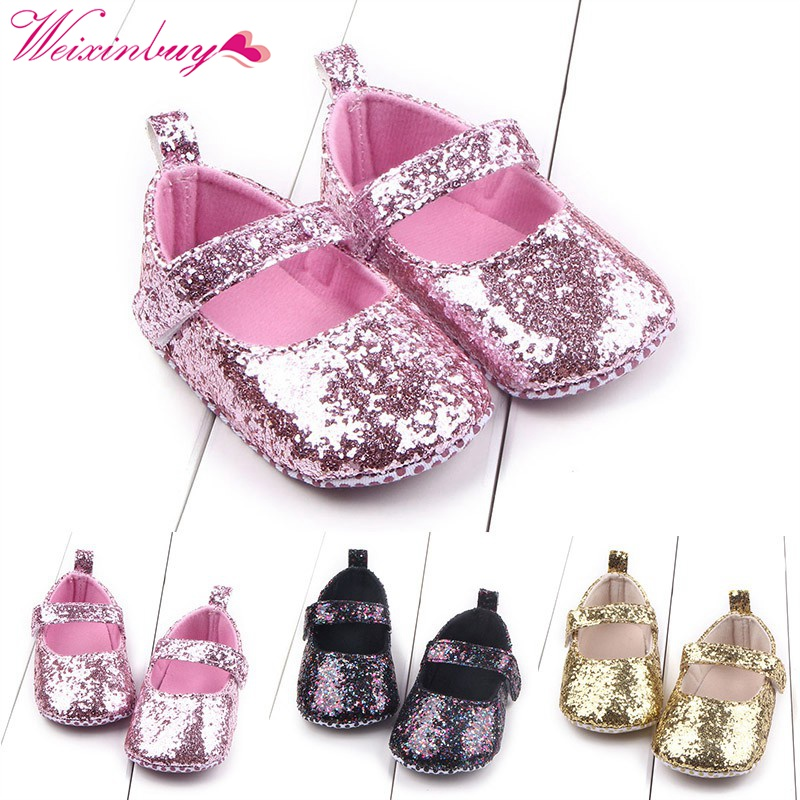 New Toddler Baby Girls Shoes Sequin Infant Soft Sole First Walker Cotton Shoes Soft Bottom Girls Shoes