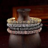 OIQUEI Luxury Jewelry Full Black Zircon CZ Copper Spacer Bead Bangles For Women Men Fashion Accessories Wristband Cuff Bracelets