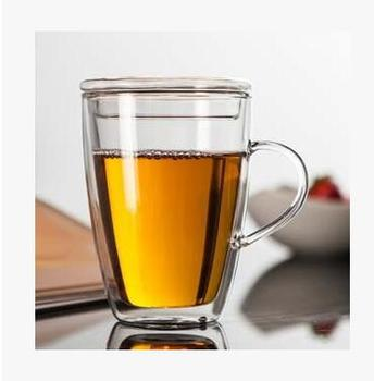 Термостойкая стеклянная чашка с крышкой, двухслойная кофейная чашка, бытовая офисная посуда для напитков, для цветка/черного/Пуэр/пуэр чая