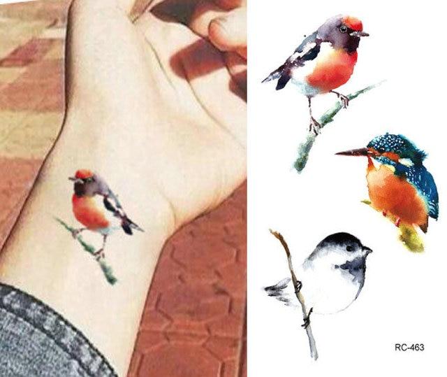 Tattoo Aufkleber Tier Kleine 10 5 6 Cm Vogel Aquarell Neue Manner