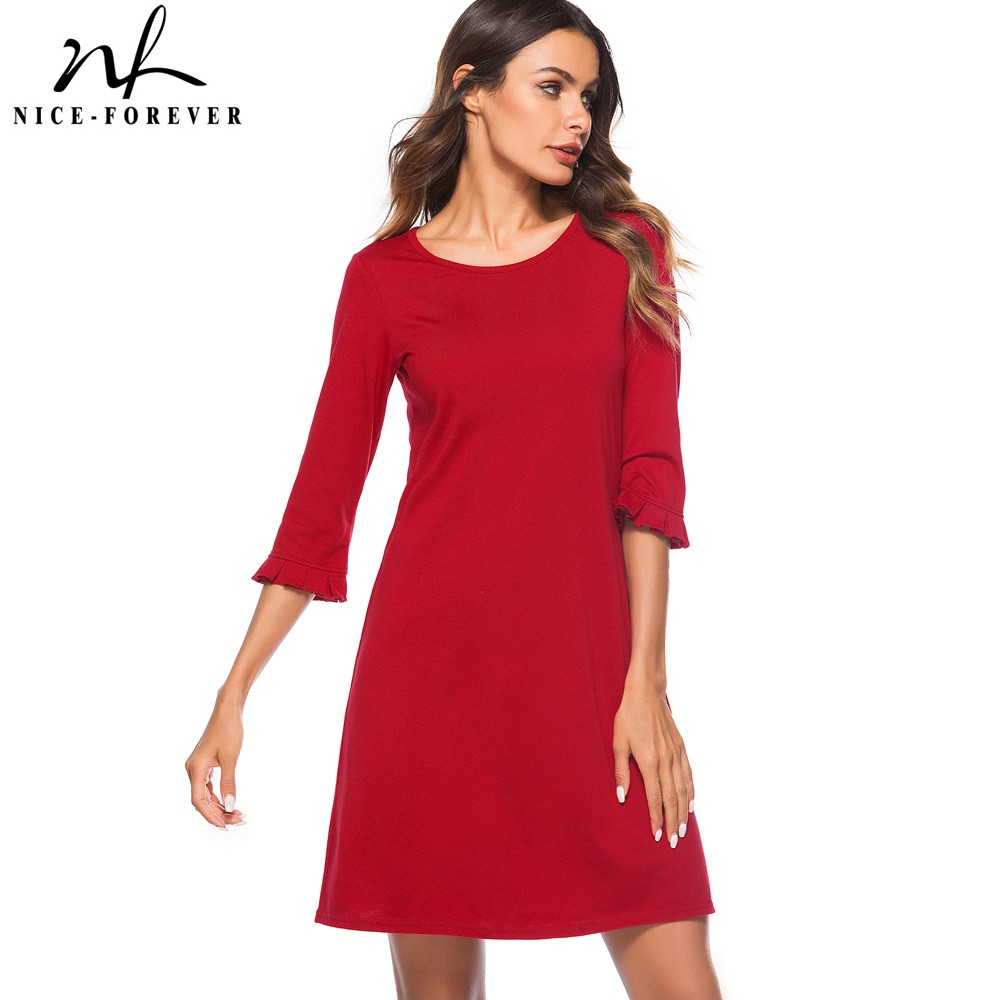 Nice-forever Causal Elegant Solid Red Color O Neck Vestidos 3/4 Plated Sleeve Work Women Straight Shift Dress T028